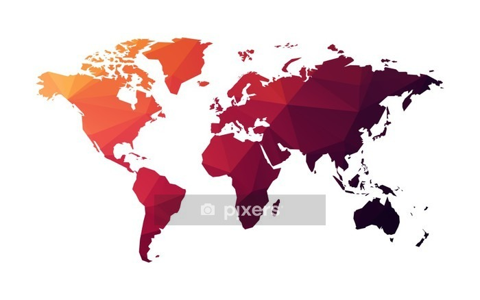 red geometric world map Wall Decal - Graphic Resources