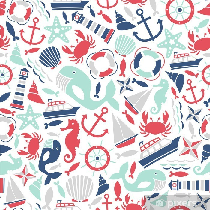 seamless pattern with sea icons Pixerstick Sticker - Kids room
