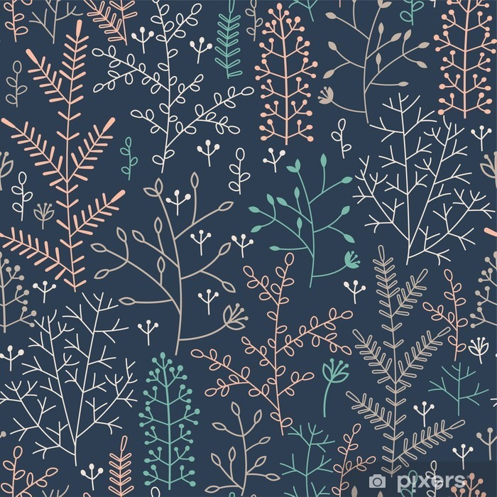 seamless pattern with minimalistic floral ornament Pixerstick Sticker - Graphic Resources