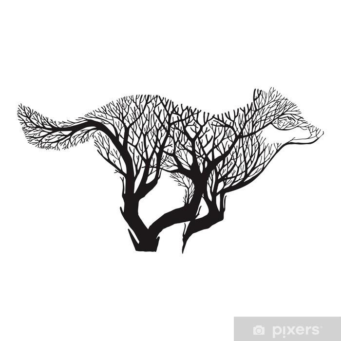 Çıkartması Pixerstick Kurt çalıştırmak siluet çift pozlama harman ağaç çizim dövme vektör - Hayvanlar