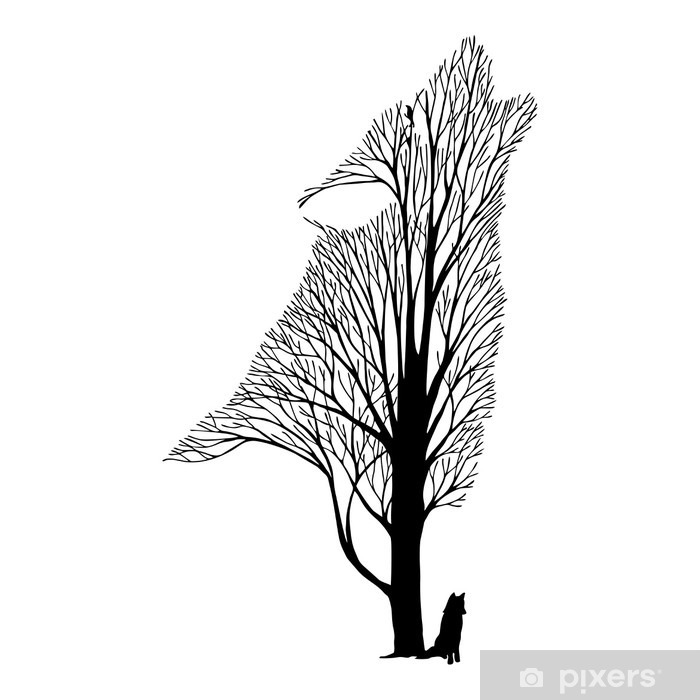 Sticker Pixerstick Hurlement du loup mélange arbre dessin tatouage vecteur - Animaux