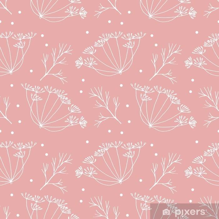 Papier peint vinyle Aneth ou fenouil fleurs et feuilles de motif. - Plantes et fleurs