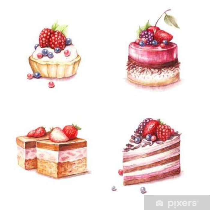 Fototapete Satz Von Verschiedenen Sorten Von Kuchen Hand Zeichnen