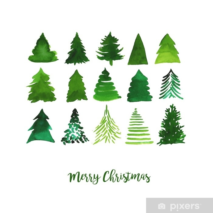 Christmas Tree Illustration.Watercolor Vector Illustration Of Christmas Trees Merry Christmas And Happy New Year Greeting Card Wall Mural Vinyl