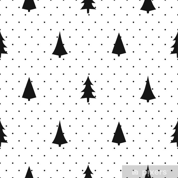 Black and white simple seamless Christmas pattern - varied Xmas trees.  Happy New Year polka dots background. Vector design for textile, wallpaper,