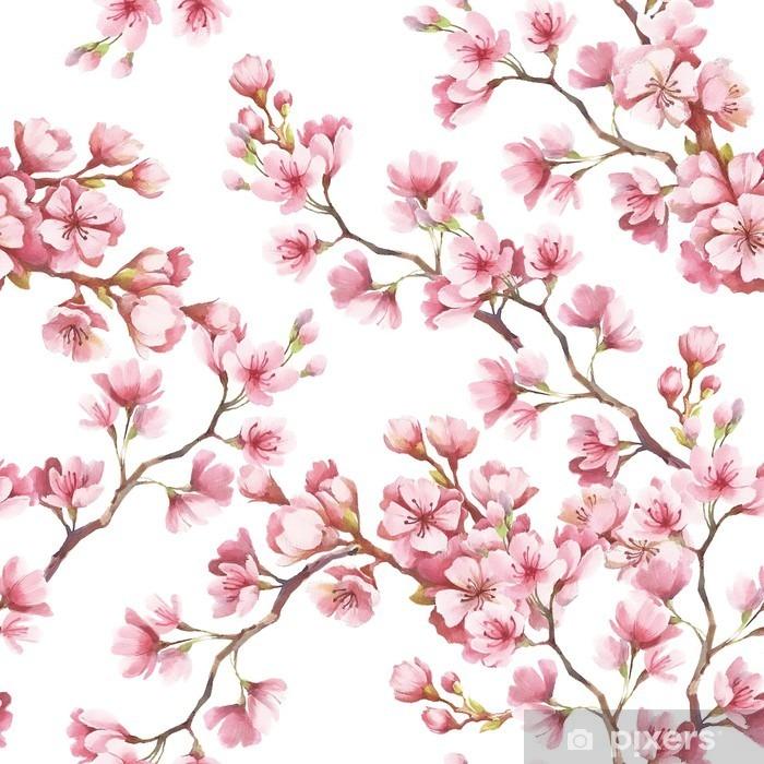 Naklejka Pixerstick Jednolite wzór z kwiatów wiśni. Ilustracja akwarela. - Rośliny i kwiaty