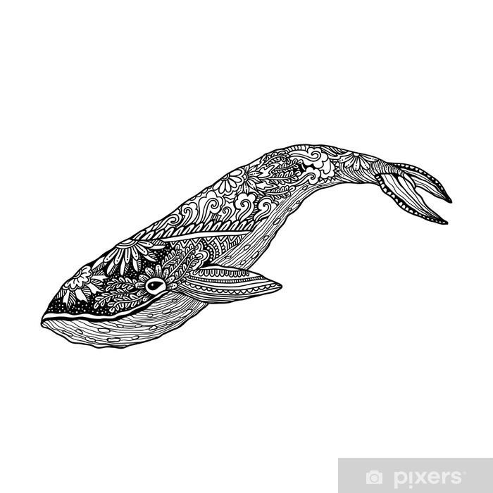 Plakat Wieloryb, Wektor zentangle druku, kolorystyka strony dorosłych. Ręcznie rysowane artystycznie, ozdobnych wzorzyste ilustracji. Kolekcja zwierząt morskich. Szkic, tatuaż, plakaty, t-shirt. - Zwierzęta