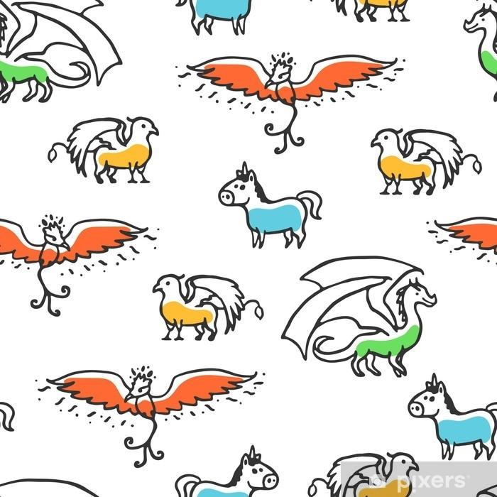ef5fed960a Fotomural Estándar Sin patrón con bestias míticas de dibujos animados  lindo. dragón