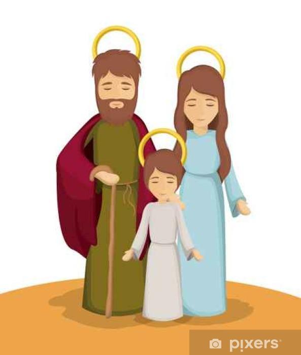 Mural De Parede Em Vinil Maria José E ícone De Jesus Dos Desenhos Animados Sagrada Família E Tema Do Natal Temporada De Inverno Design Colorido