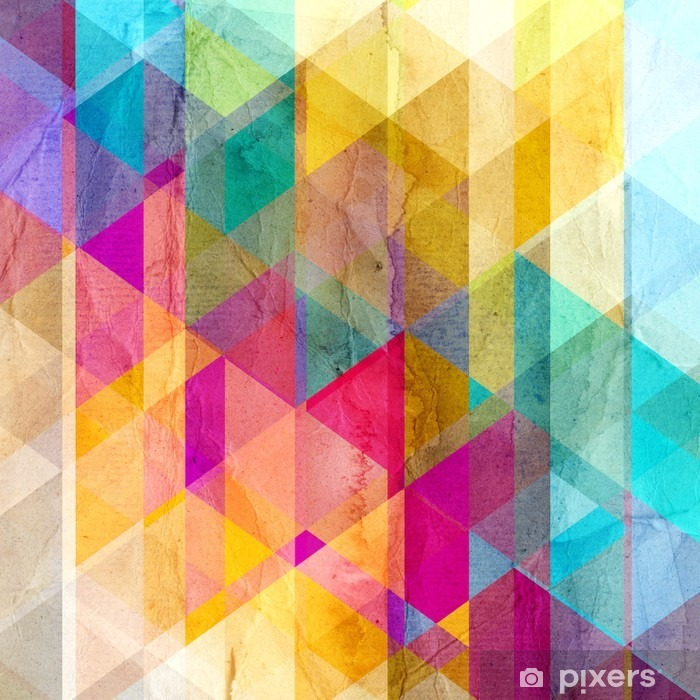 Watercolor geometric background with triangles Pixerstick Sticker - Graphic Resources
