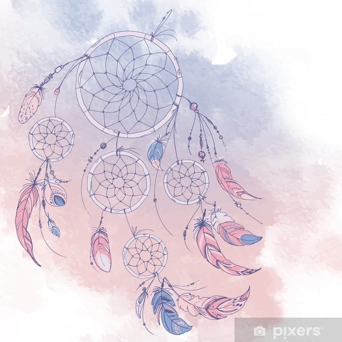 Dreamcatcher, Set of ornaments, feathers and beads. Native american indian dream catcher, traditional symbol. Feathers and beads on white background. Color rose quartz, serenity. Vinyl Wall Mural - Culture and Religion