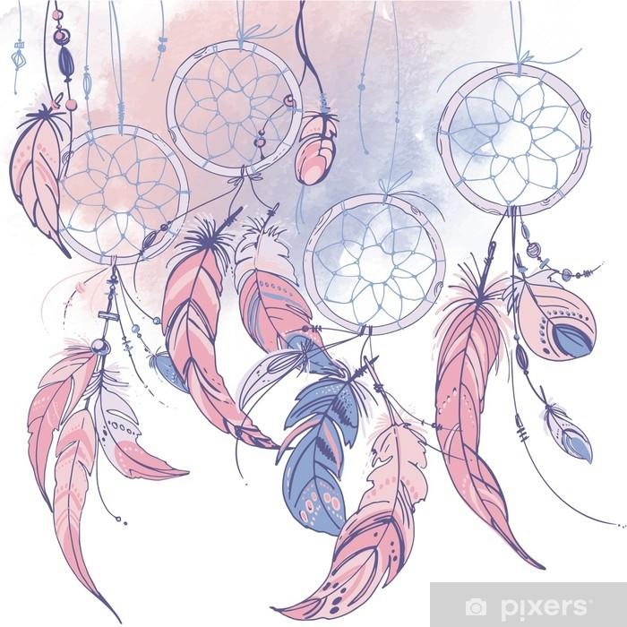 Papier peint vinyle Dreamcatcher, ensemble d'ornements, de plumes et de perles. capteur de rêves indien amérindien, symbole traditionnel. plumes et perles sur fond blanc. Couleur rose quartz, sérénité. - Culture et religion