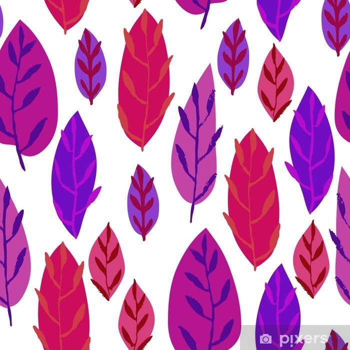 Fotomural Estándar Dibujado mano linda Hojas ornamento. Vector sin patrón colorido. - Plantas y flores
