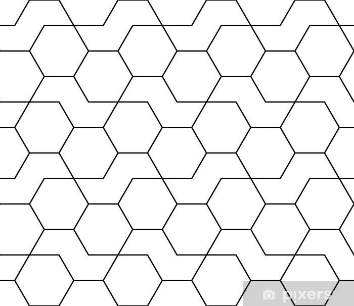 Mural de Parede em Vinil Teste padrão do hexágono impressão design abstrato geométrico preto e branco moderno da moda - Quarto