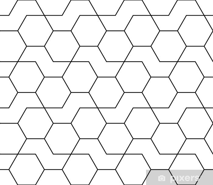 Naklejka Pixerstick Abstrakcyjne geometryczne czarno-białe hipster mody wzór druku wzór sześciokątnym - Do sypialni