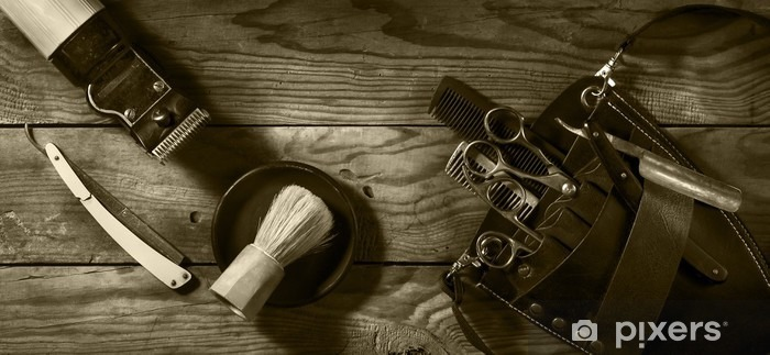 Papier Peint Autocollant Ensemble Vintage de Barbershop.Toning sépia - Style de vie