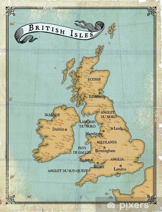 Age-old map British Isles Wall Mural - Vinyl