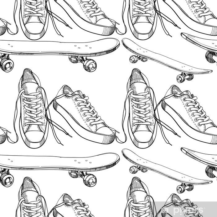 Pixerstick Sticker Illustratie van de sport schoenen met skateboard naadloze patroon, w - Sport