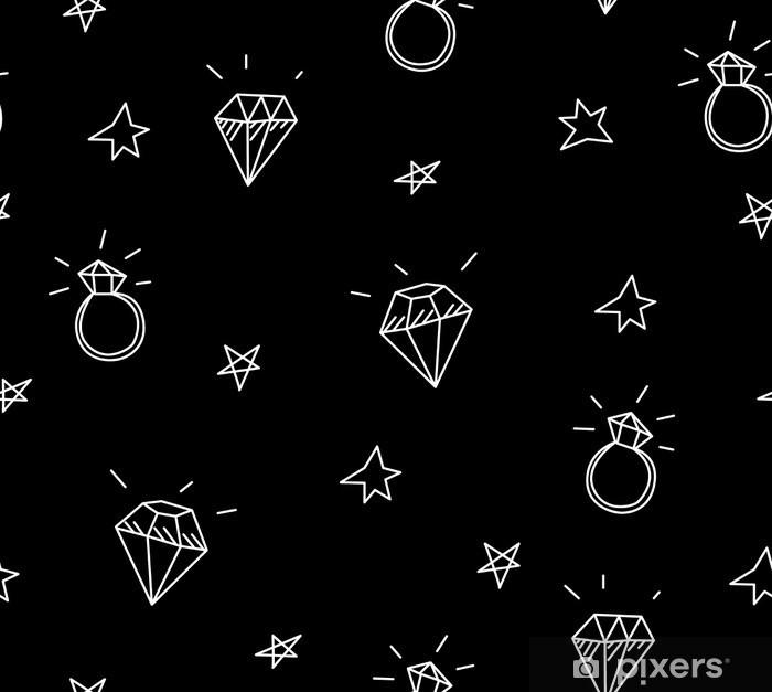Vinilo para Mesa Lack Vector patrón transparente con anillos de boda, estrellas y joyas. elementos antiguos del tatuaje de la escuela. estilo inconformista - Estilo de vida