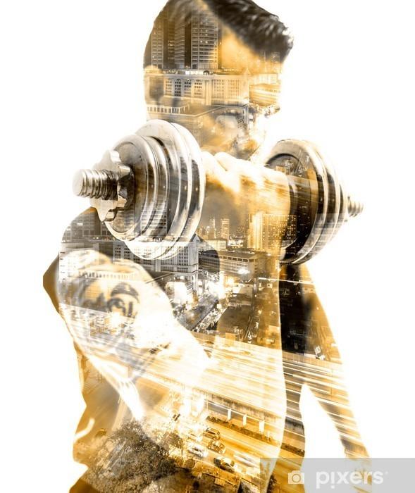 Fototapeta winylowa Vida saludable y deporte.Gimnasia, siłownia y entrenamiento con pesas.Doble Exposicion - Styl życia
