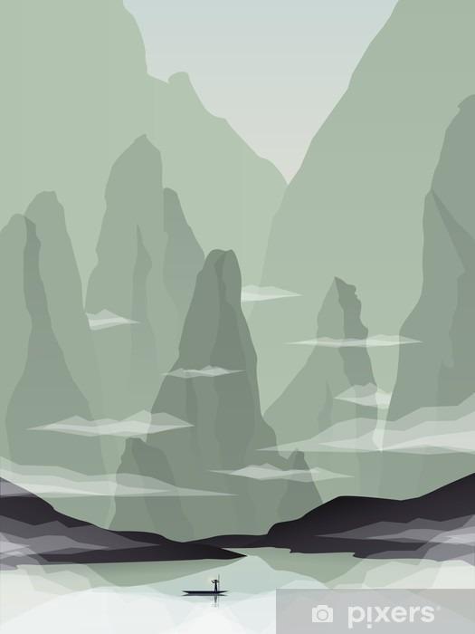 Fotomural Estándar Ilustración vectorial paisaje sudeste asiático con rocas, acantilados y el mar. China o Vietnam promoción turística. - Paisajes