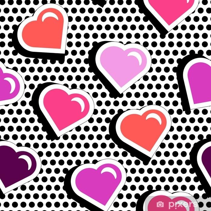 Naklejka Pixerstick Wzór z kolorowe serca kształt odznaka na czarnym tle dotty. ilustracji wektorowych z naklejek serca w stylu komiksowym lat 80.-90. pop art tekstura stile powtarzając z czerwonym sercem. - Styl życia