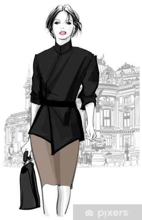 bea982933009 Fototapeta vinylová Obchodní žena procházky v přední části Opera