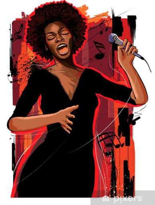 afro american jazz singer on grunge background Lack Table Veneer - Hobbies and Leisure