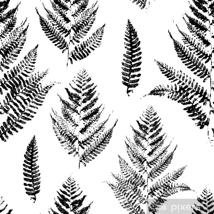 Seamless pattern with paint prints of fern leaves Pixerstick Sticker - Industrial