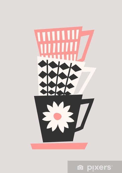 Retro Coffee Cups Vinyl Wall Mural - Drinks