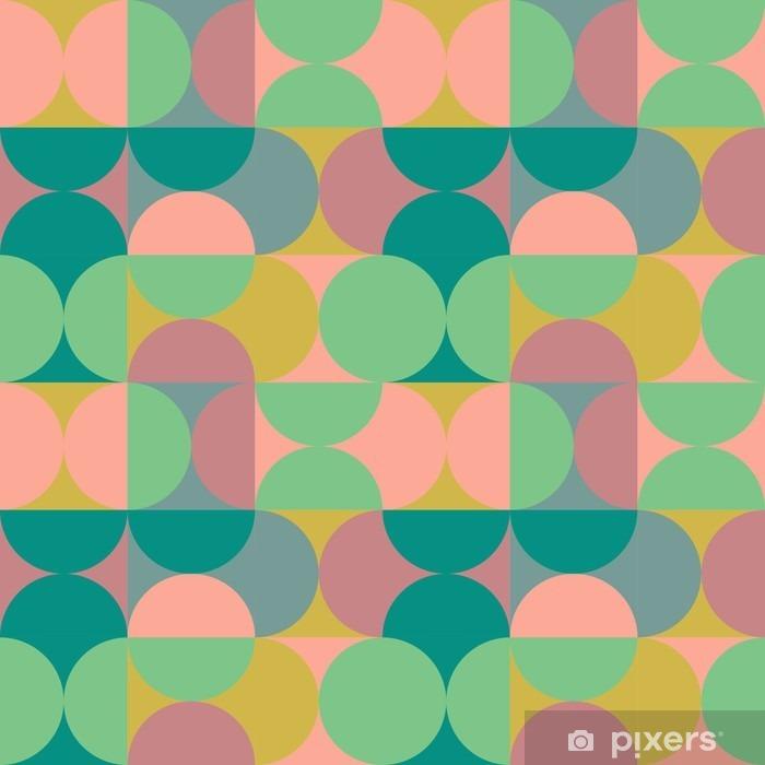Baumwolle Popeline Muster Retro Orange Grun Auf Weiss