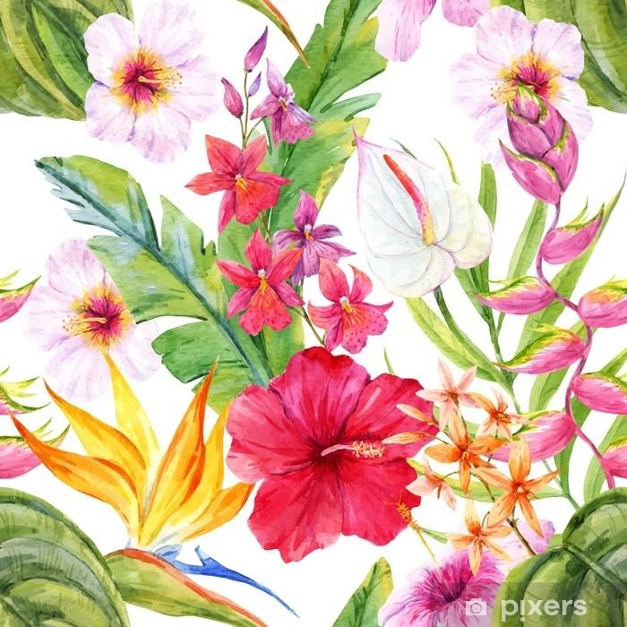 Plakát Akvarel tropické květinovým vzorem - Rostliny a květiny