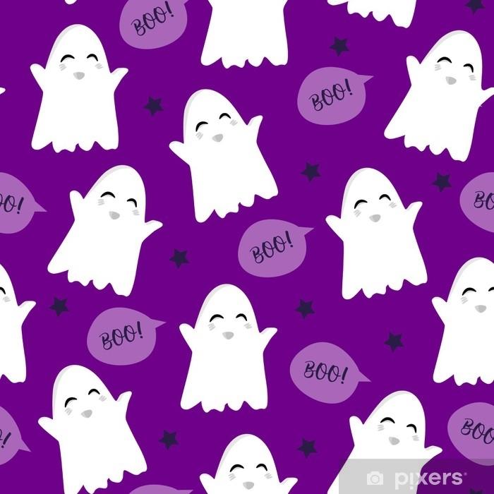Poster Modèle d'halloween avec des nuages fantômes et texte mignon. vecteur de fond sans couture. - Culture et religion