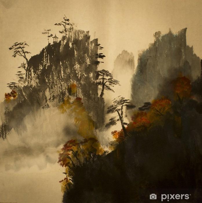 Vinil Duvar Resmi Çin dağlarında Sonbahar - Manzaralar