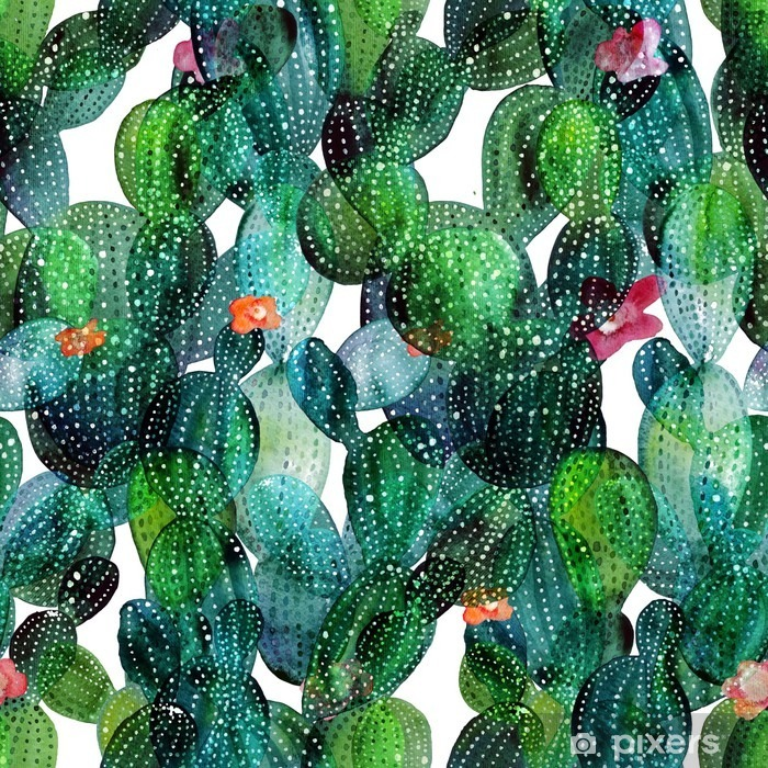 Cactus pattern in watercolor style Pixerstick Sticker - Plants and Flowers