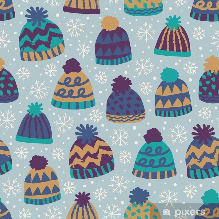 seamless winter pattern with caps and snowflakes Vinyl Wall Mural - Lifestyle