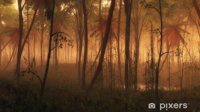 Zelfklevend Fotobehang Plas water in mistige tropische bossen. - Landschappen