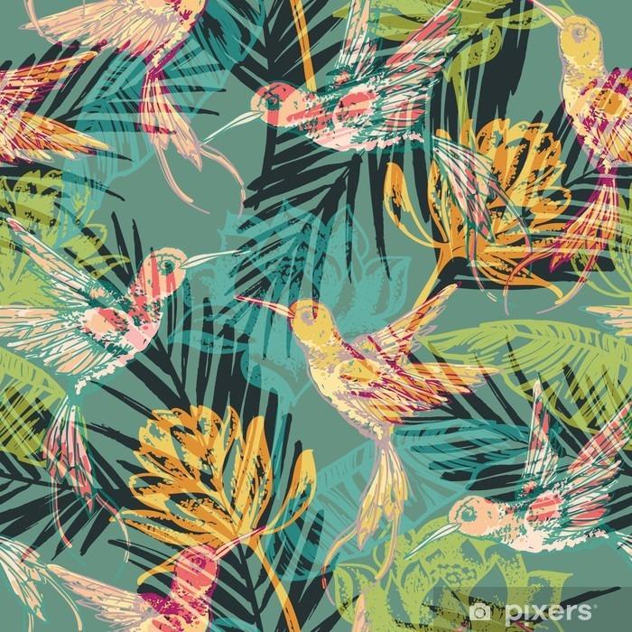 Fotomural Estándar Modelo exótico inconsútil con las hojas de palma abstractas y Colibri. - Recursos gráficos