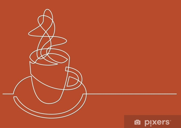 continuous line drawing of cup of coffee Vinyl Wall Mural - Graphic Resources