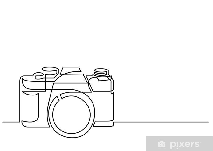 Vinilo Dibujo De Línea Continua De Cámara De Fotos Retro Pixerstick