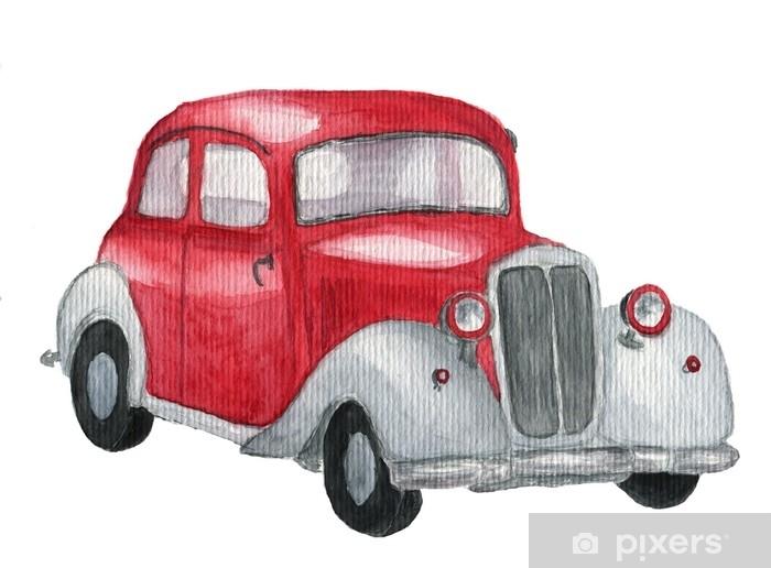 Papier Peint Voiture Retro Rouge Aquarelle Automobile Vintage