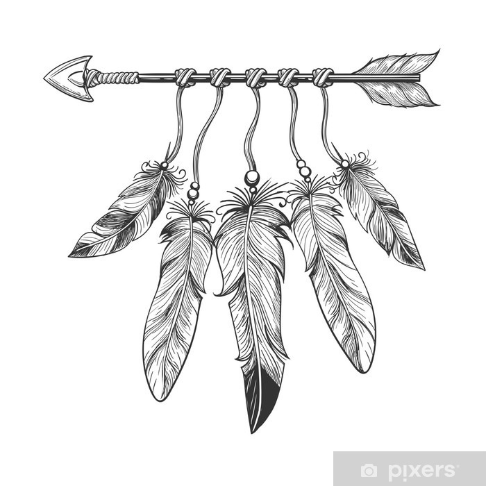 Vintage nativity hand drawn arrow with feathers. Tribal boho indian dreamcatche talisman isolated on white background. Vector illustration Vinyl Wall Mural - Graphic Resources