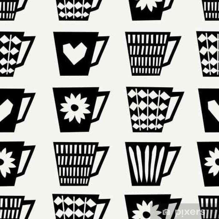 Seamless Coffee Cups Pattern Pixerstick Sticker - Drinks