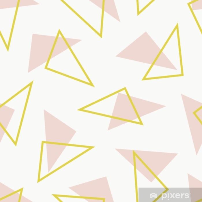 Papier peint vinyle Modèle sans couture moderne avec des triangles en pêche et vert sur fond crème. - Ressources graphiques
