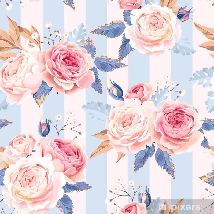 Poster Nahtlose Vintage Rosen - Pflanzen und Blumen