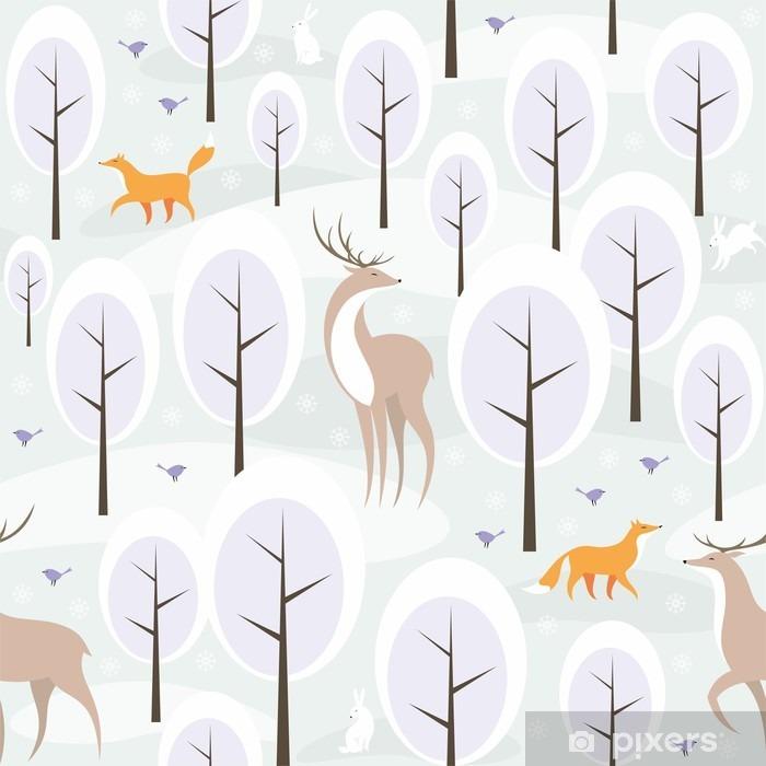 Papier peint vinyle Christmas seamless pattern avec l'image de la forêt d'hiver et les animaux sauvages - Ressources graphiques