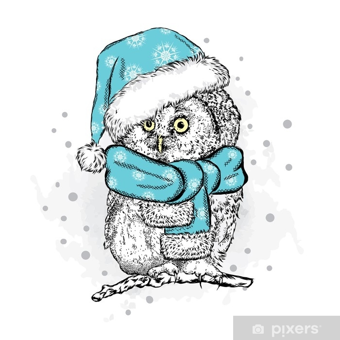 funny owl in christmas hat vector illustration christmas and new year poster