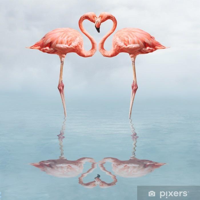 Naklejka Pixerstick Making love - Flamingi