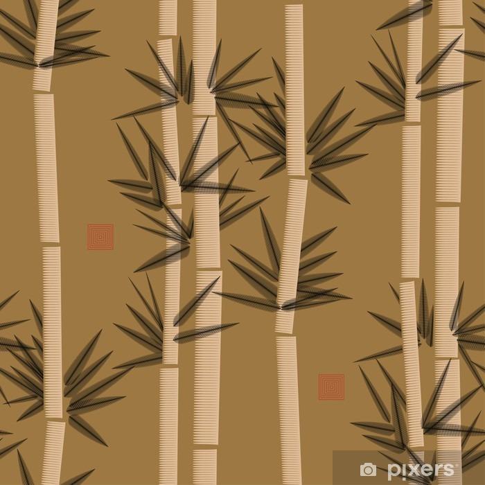 Nálepka Pixerstick Bambus bezešvé vzor v černé a zlaté odstíny - Grafika