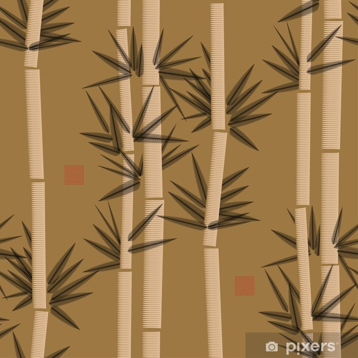 bamboo seamless pattern in black and gold shades Pixerstick Sticker - Graphic Resources